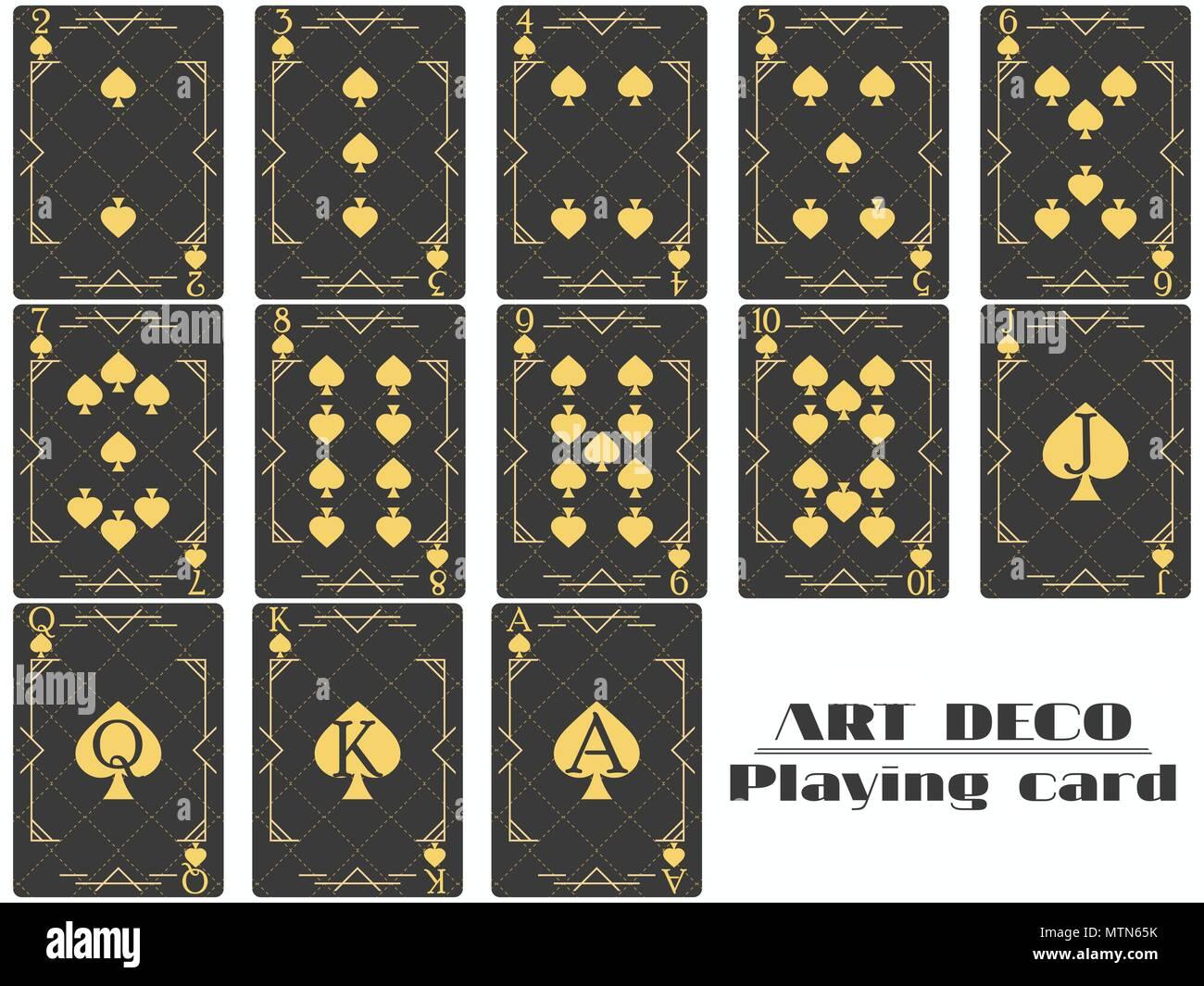 Cartes à jouer spade de même. Cartes de poker design original style art déco. Vector illustration Photo Stock