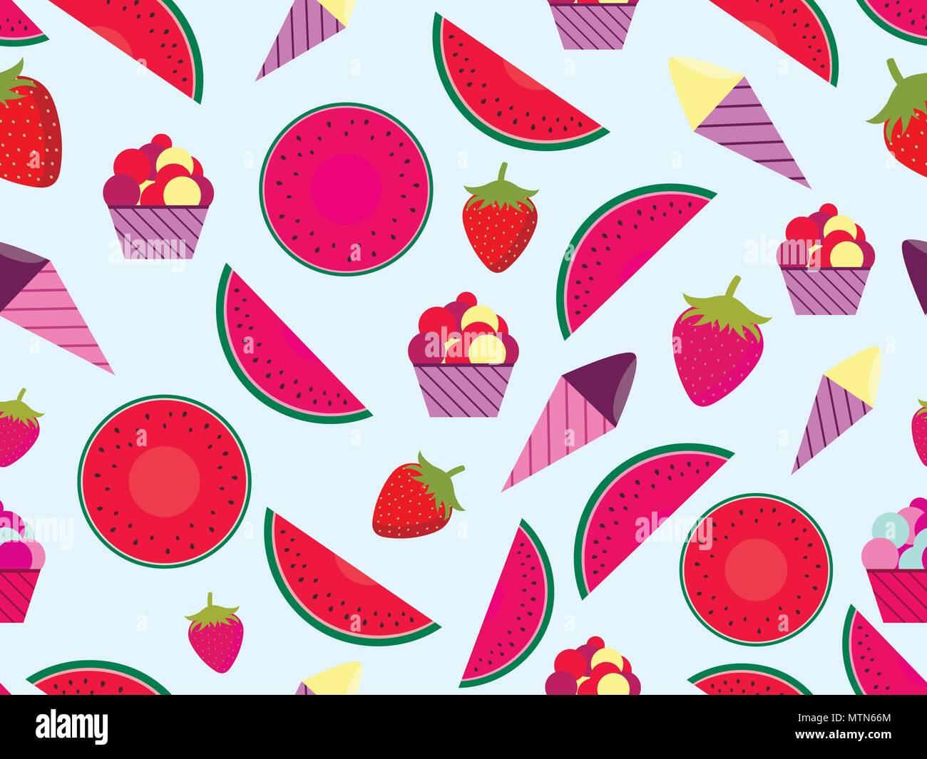 mod u00e8le sans couture d u0026 39  u00e9t u00e9 avec des fruits et de la cr u00e8me