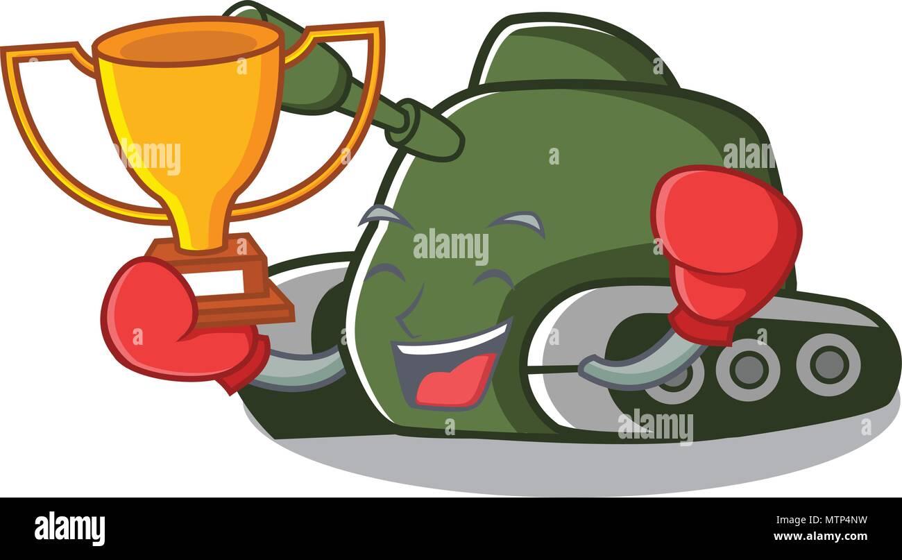 Gagnant de boxe style cartoon mascot réservoir Illustration de Vecteur