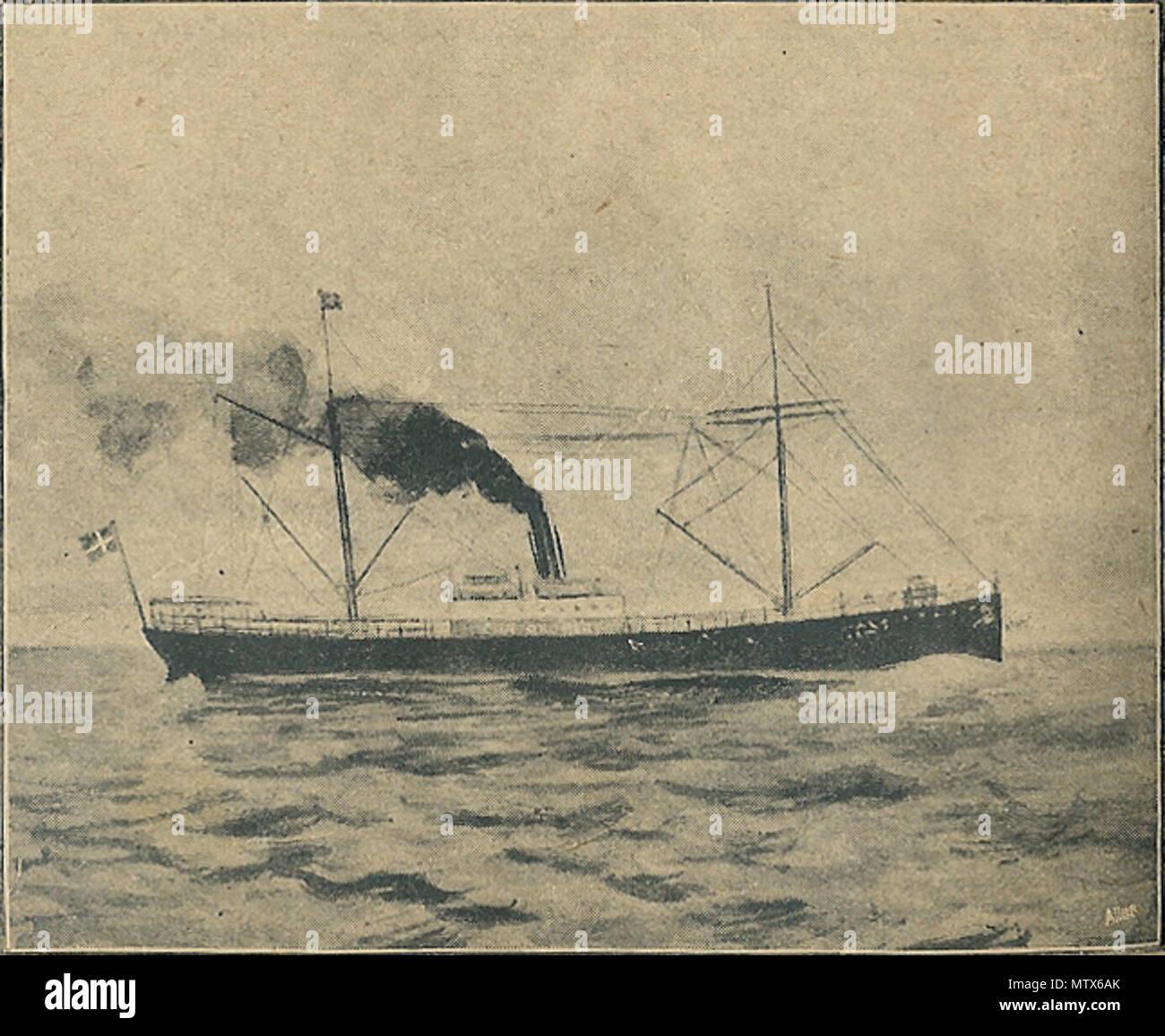 . «Damperen Chr. Broberg' de 'De' Paris. Den var på vej hjem med stykgods Middelhavshavne fra forskellige da den danske volet d''Maryland' stødte kvartmil 35 mine på en Galopernes fyrskib fra d. 21. août 1914. 'Chr. Sejlede Broberg' til derhen pour mandskabet hjælp til at komme da dette skib stødte også på en mine. Mandskabet bortset Hele, fra 2. maskinmester Jensen som omkom, j'redningsbådene nåede forsvandt dybet j'inden skibet. . Utilisateurs reproduction d'une œuvre d'art expiré 151 Damperen Broberg Chr Photo Stock