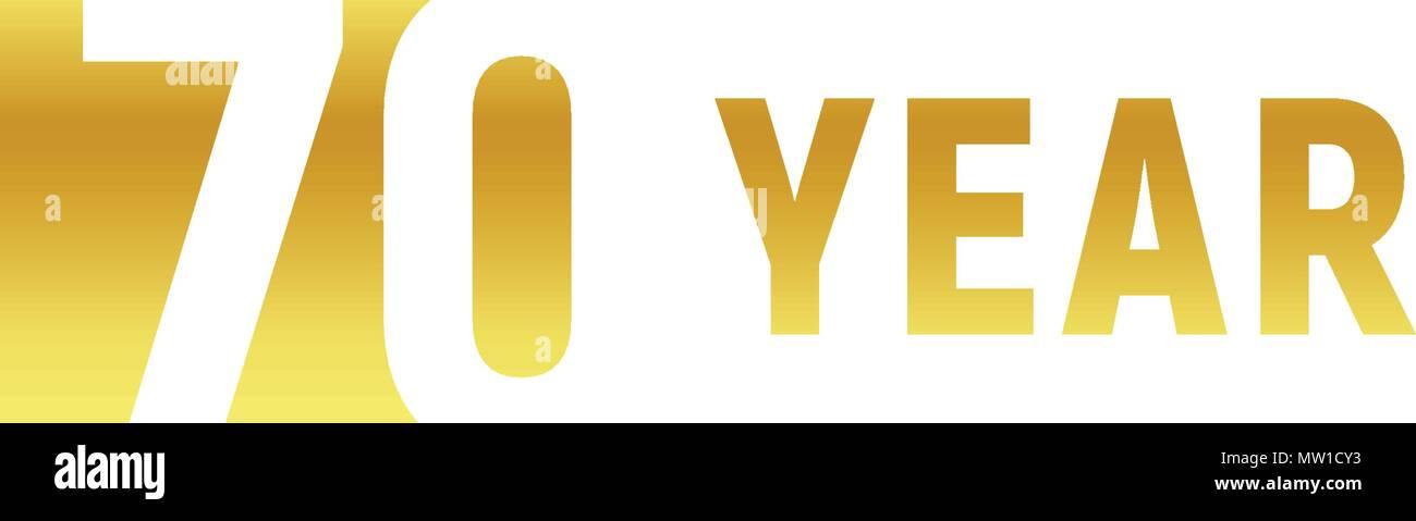 70 Ans Bon Anniversaire Logo Or Sur Fond Blanc Lanniversaire D