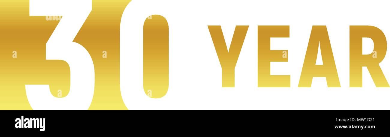 30 Ans Bon Anniversaire Logo Or Sur Fond Blanc L