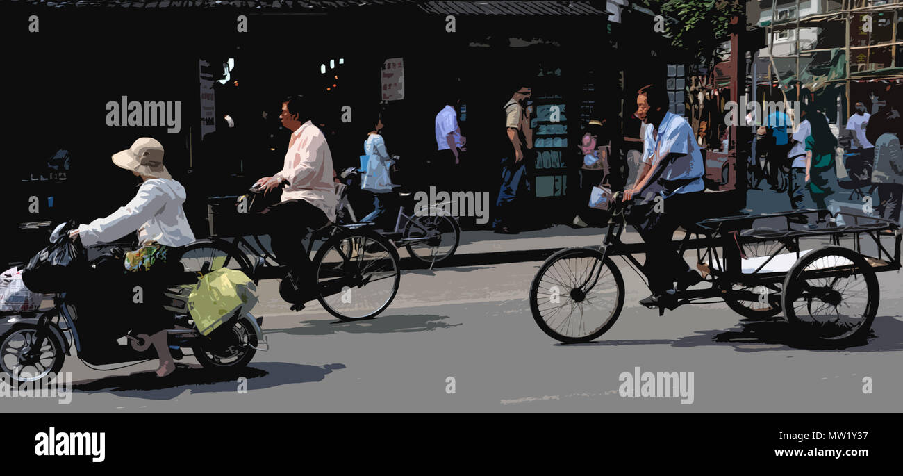 Scène de rue franche montrant différents modes de transport (rendu en PS, illustration), Shanghai, Chine Photo Stock