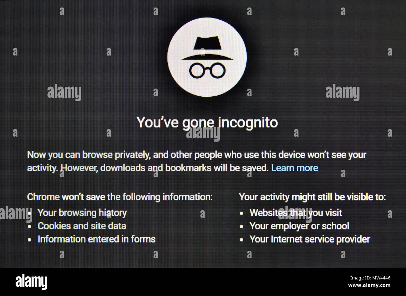 Google Chrome Incognito page de moteur de recherche, permettant la navigation anonyme sur internet sans être retracé Photo Stock