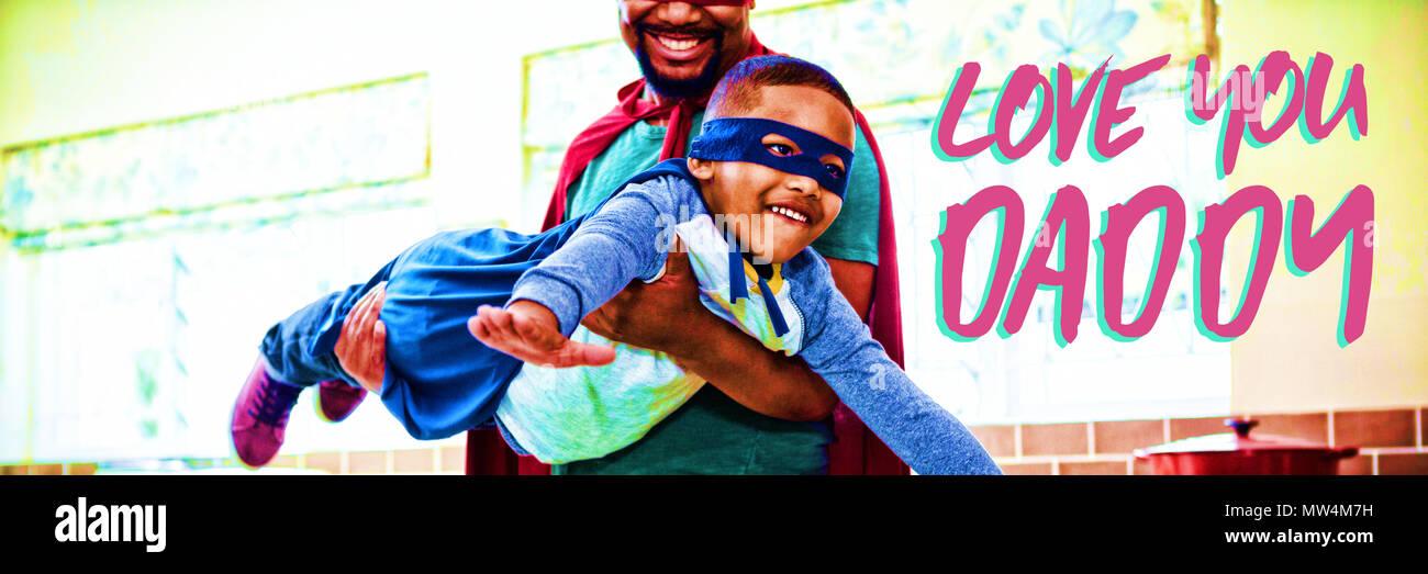 Composite image texte rose t'aime papa Banque D'Images