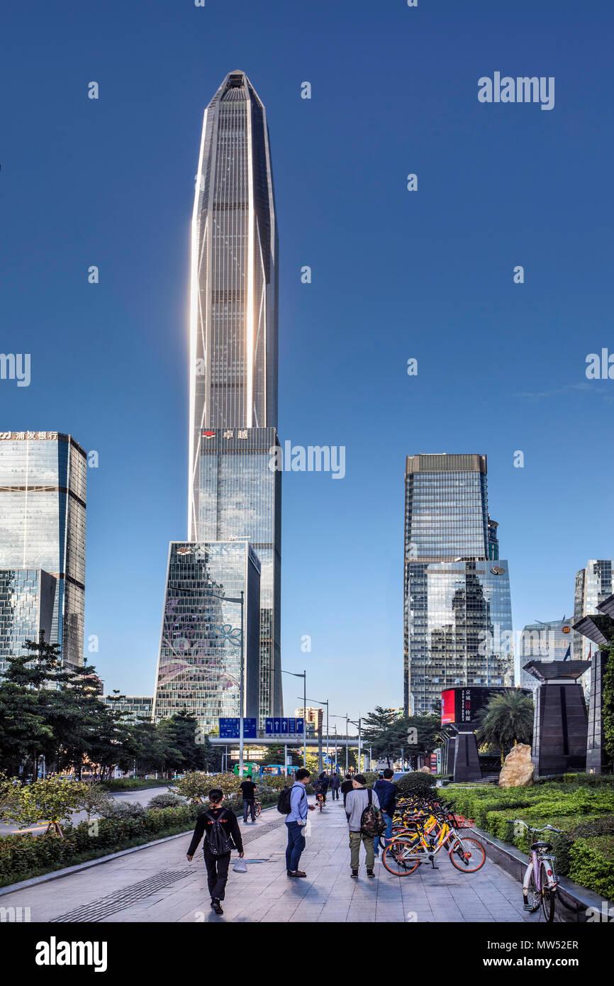 La Chine, la ville de Shenzhen, Shenzhen Futian District, Tour Pingan Photo Stock