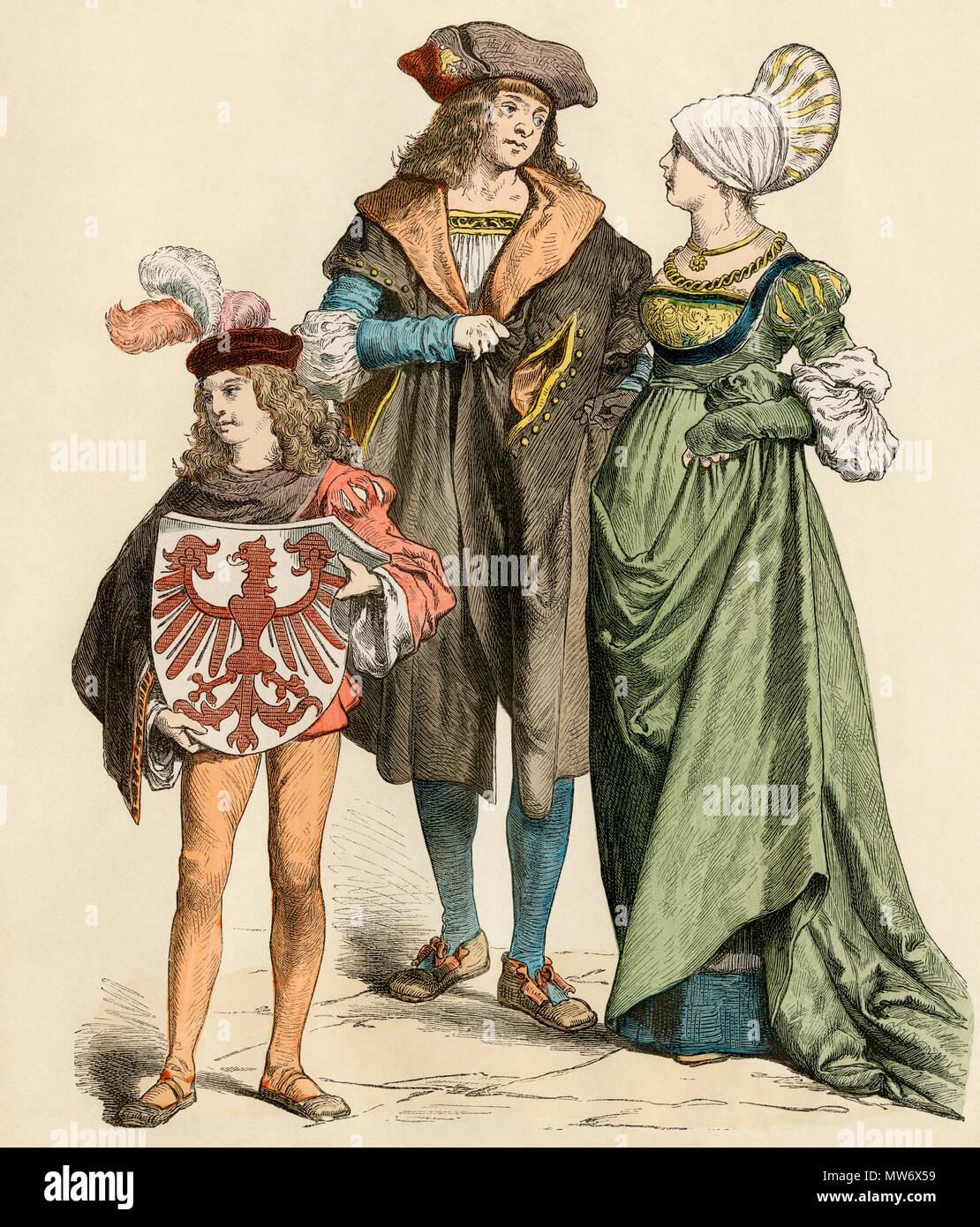 La classe moyenne urbaine prospère, allemands ou bourgeois, 1500s. Impression couleur à la main Photo Stock
