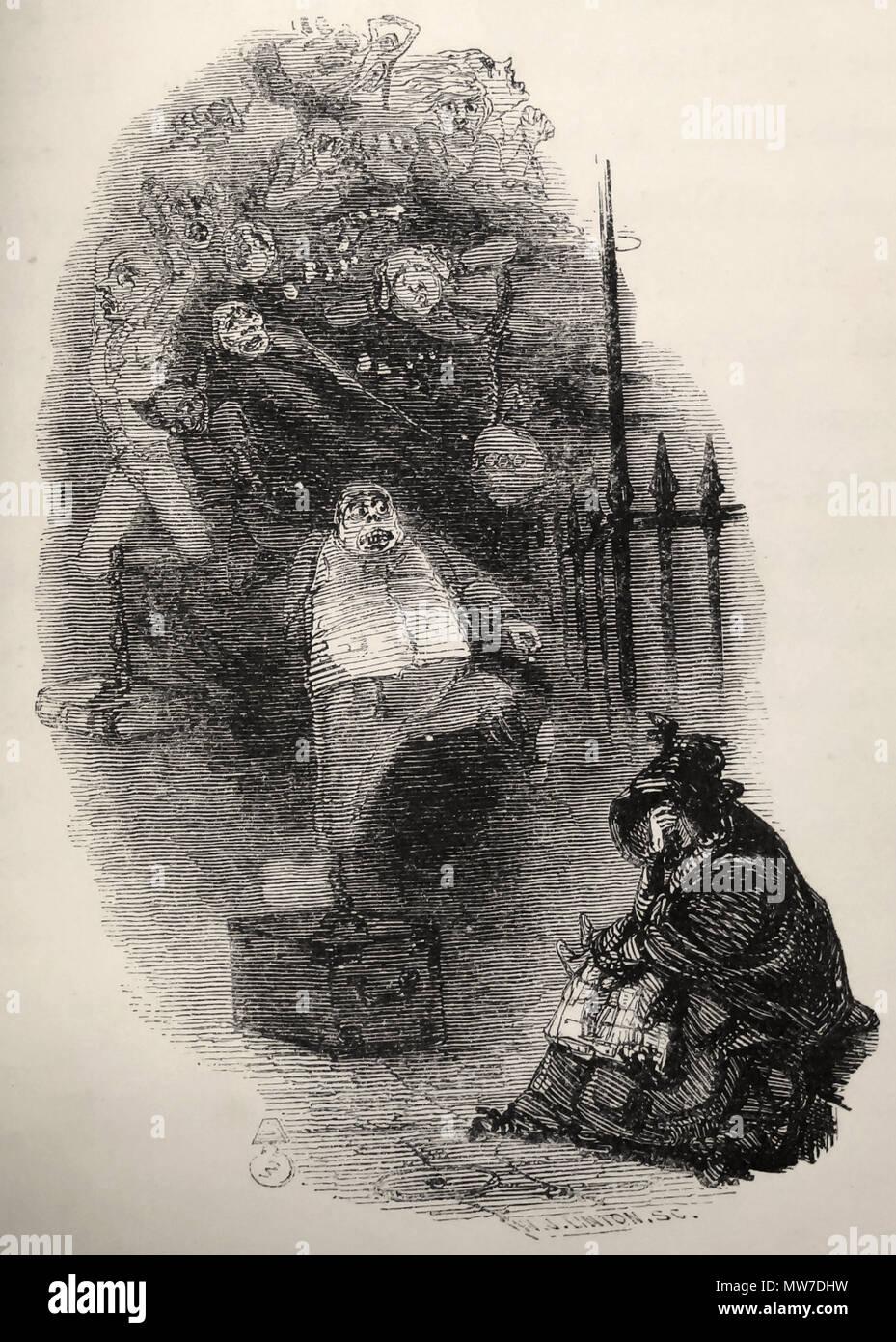 John Leech Illustrateur Anglais Le Vieux Fantome N A Pas Ete En Mesure D Aider La Femme Miserable Art Par John Leech Pour Un Chant De Noel De Charles Dickens 1843 Photo