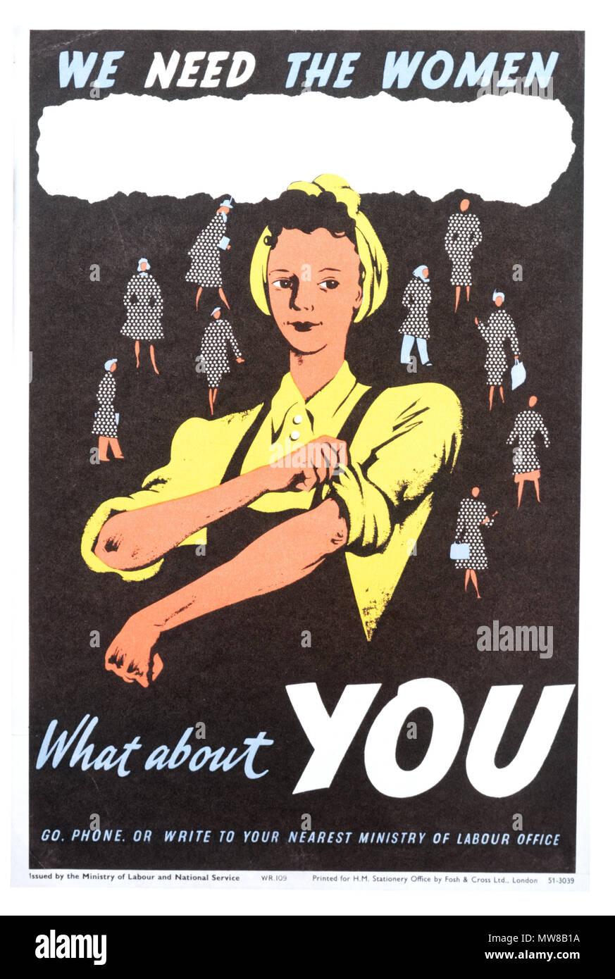 Une seconde guerre mondiale affiche appelant les femmes à se joindre au marché du travail Photo Stock