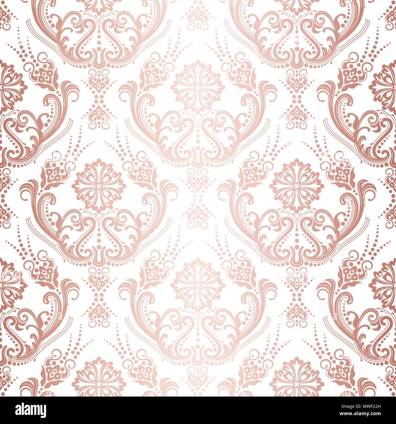 Or Rose De Luxe Papier Peint Damasse Floral Motif Isole Cette Image