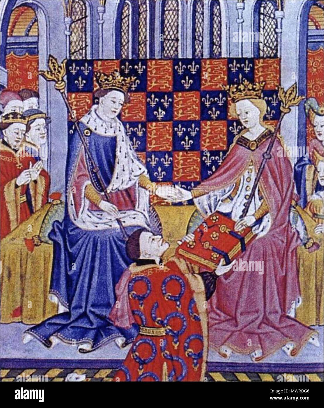 . Anglais: John Talbot, présente le livre de Romances (Shrewsbury) Livre de Marguerite d'Anjou, épouse du roi Henry VI . circa 1445. Maître Talbot (fl. à Rouen, ch. 1430-60) 501 Présentation du livre de romances Photo Stock