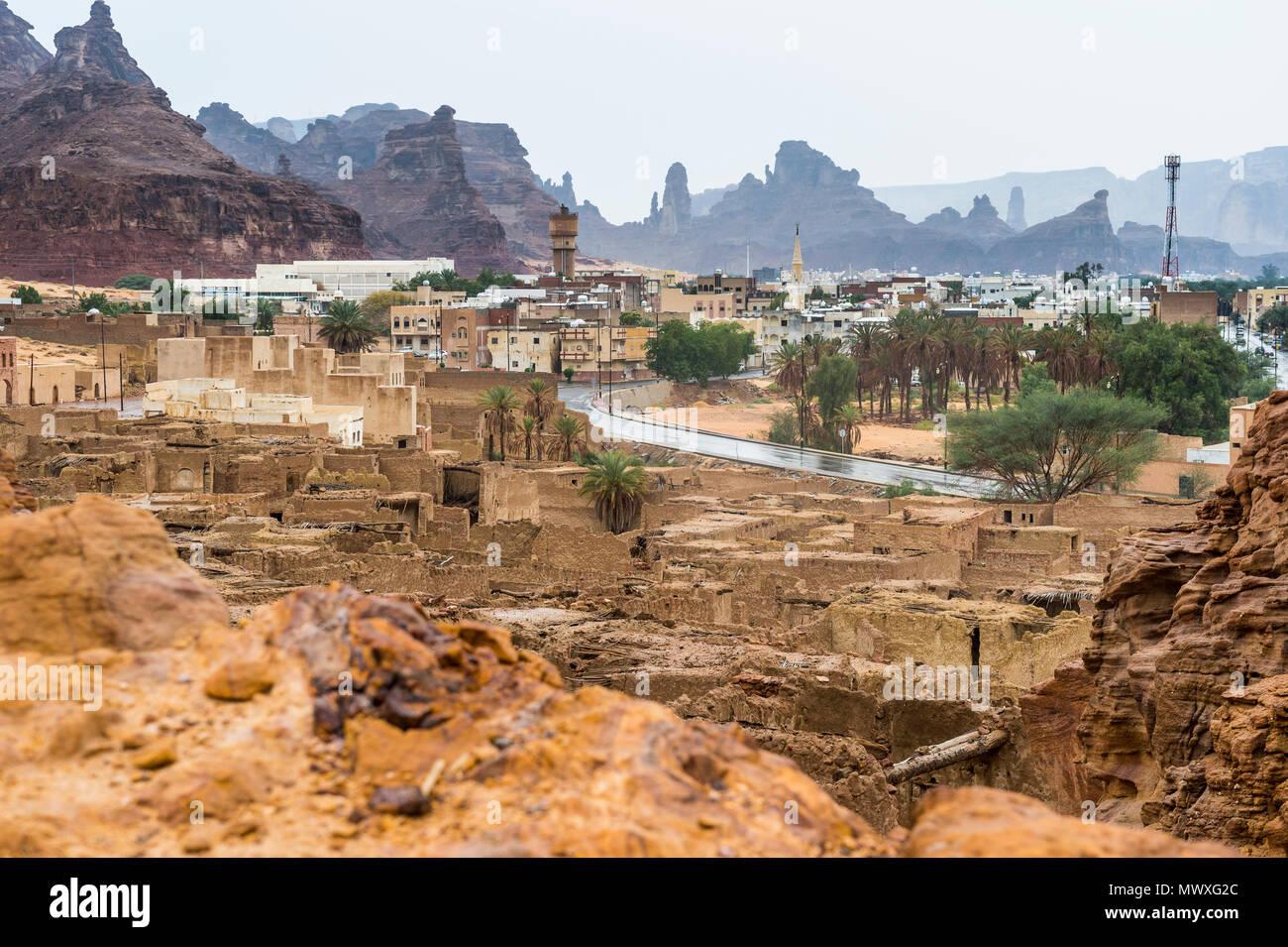 La vieille ville fantôme de Al Ula, en Arabie Saoudite, Moyen Orient Photo Stock