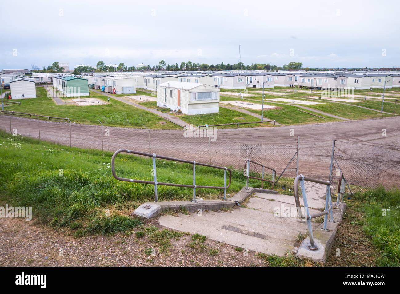 Camp de caravane sur Southend Photo Stock