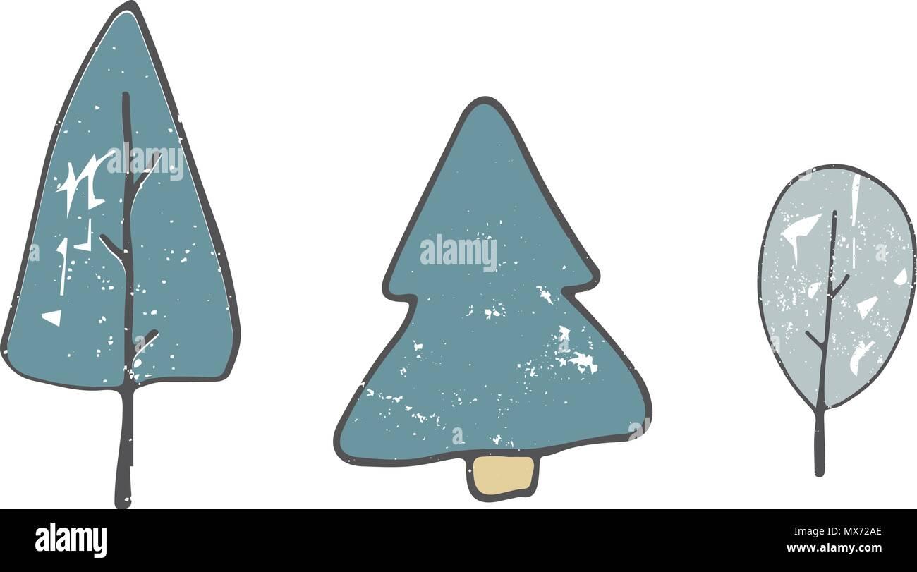 Tree Clip Art Style Shabby Dessin Une Couleur Bleu Vert