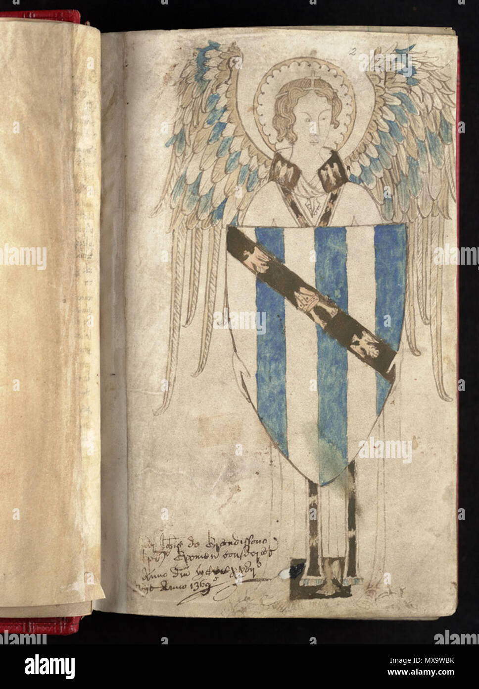 . Anglais: John Grandisson, évêque d'Exeter à partir de 1327 -1369 15 juillet armoiries dans son psautier. Blason: d'un six d'argent et d'azur a bend sable chargé d'une tiare sur un prêtre a volé entre deux aigles affiché, d'argent. 'Vit des évêques d'Exeter' décrit ses armes réelles (en cours de Grandisson brisées par la substitution de la tiare pour le milieu Eagle) comme: Kaka Bouda de six d'argent et d'azur, à la bande de gueules, chargée d'une mitre entre deux aiglons affiché, ou. Grandisson légua son Psautier à Isabella, dau. du roi Édouard III . 7 décembre 2013, 12:59:48. inconnu - payé par John Banque D'Images