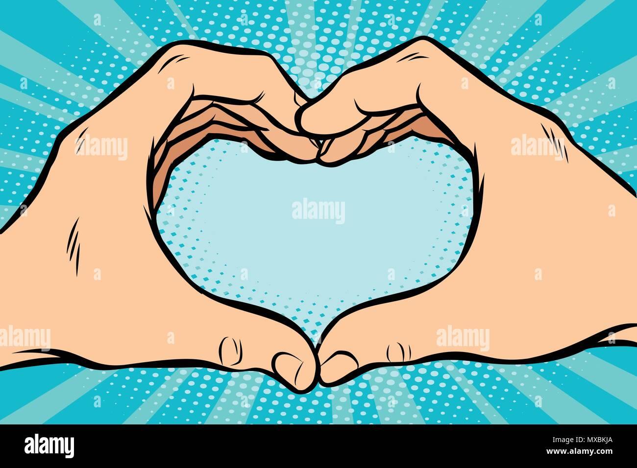 Dessin Avec La Main geste avec mains coeur. dessin animé bande dessinée pop art