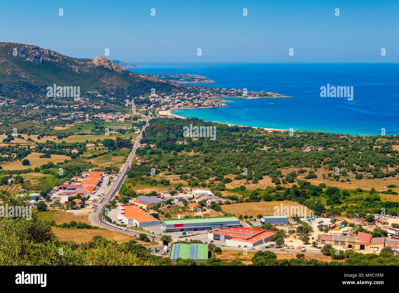 High angle view sur le village d'Algajola, Corse, France Photo Stock