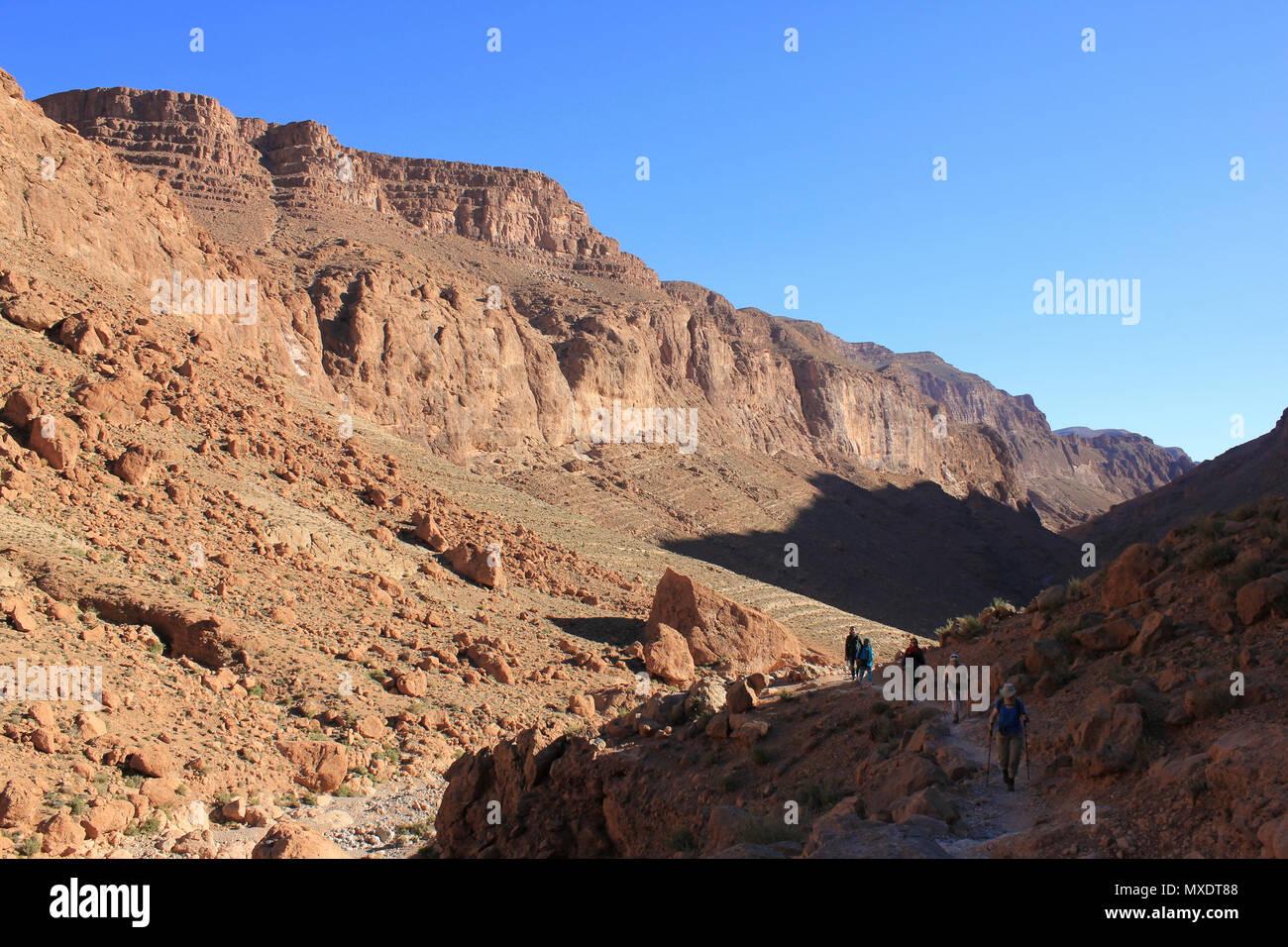 Randonnées dans la vallée de Todra Maroc Photo Stock