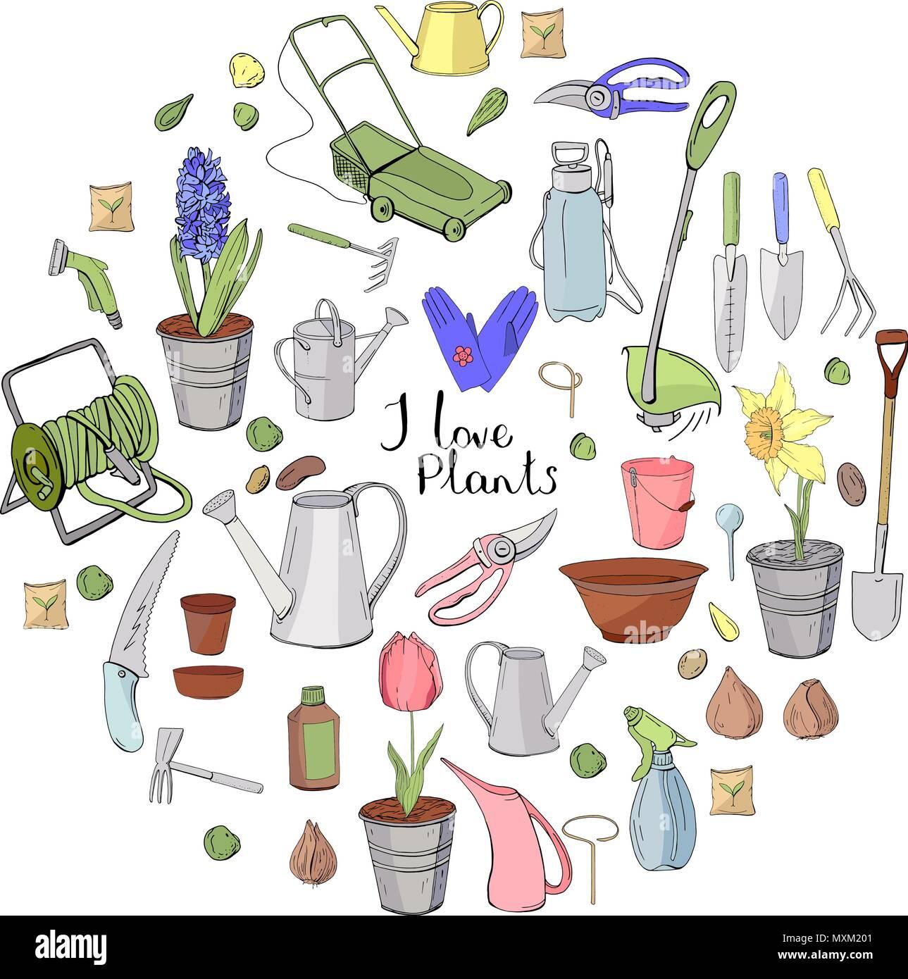 Les Outils De Jardinage Avec Photos forme ronde faite de différents outils de jardinage. cercle