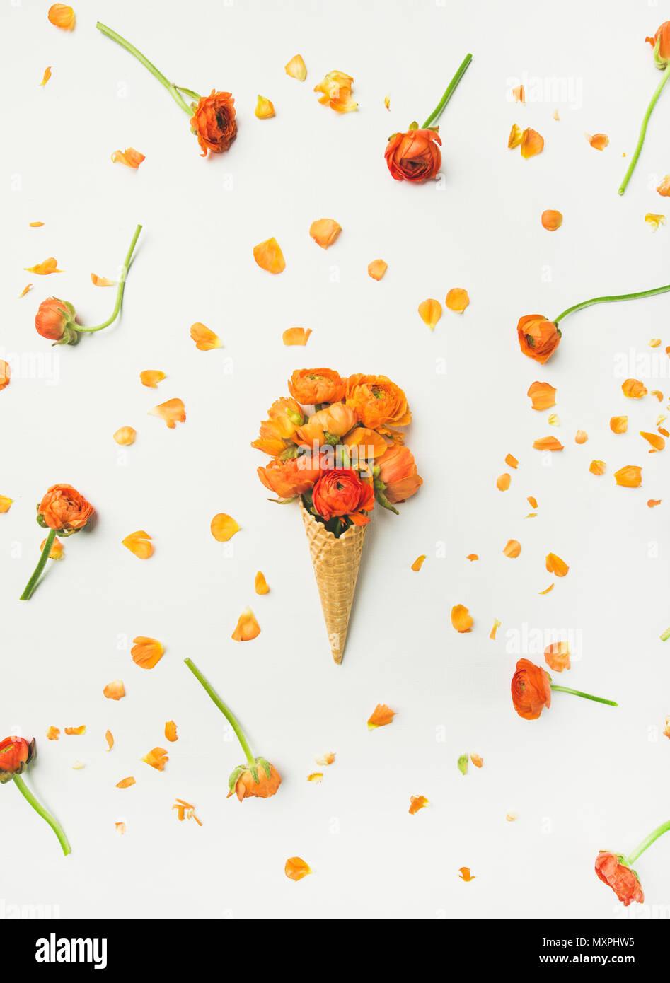 Cornet gaufré avec fleurs renoncule orange sur fond blanc Photo Stock