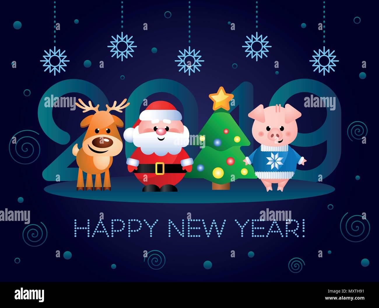 Bien-aimée Bonne Année 2019 ! Carte de souhaits avec mignon de personnages de @PG_77