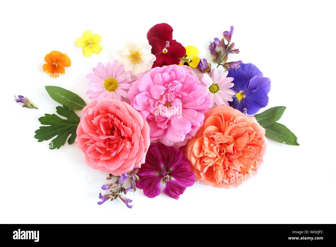 composition florale féminine. bouquet de fleurs sauvages comestibles