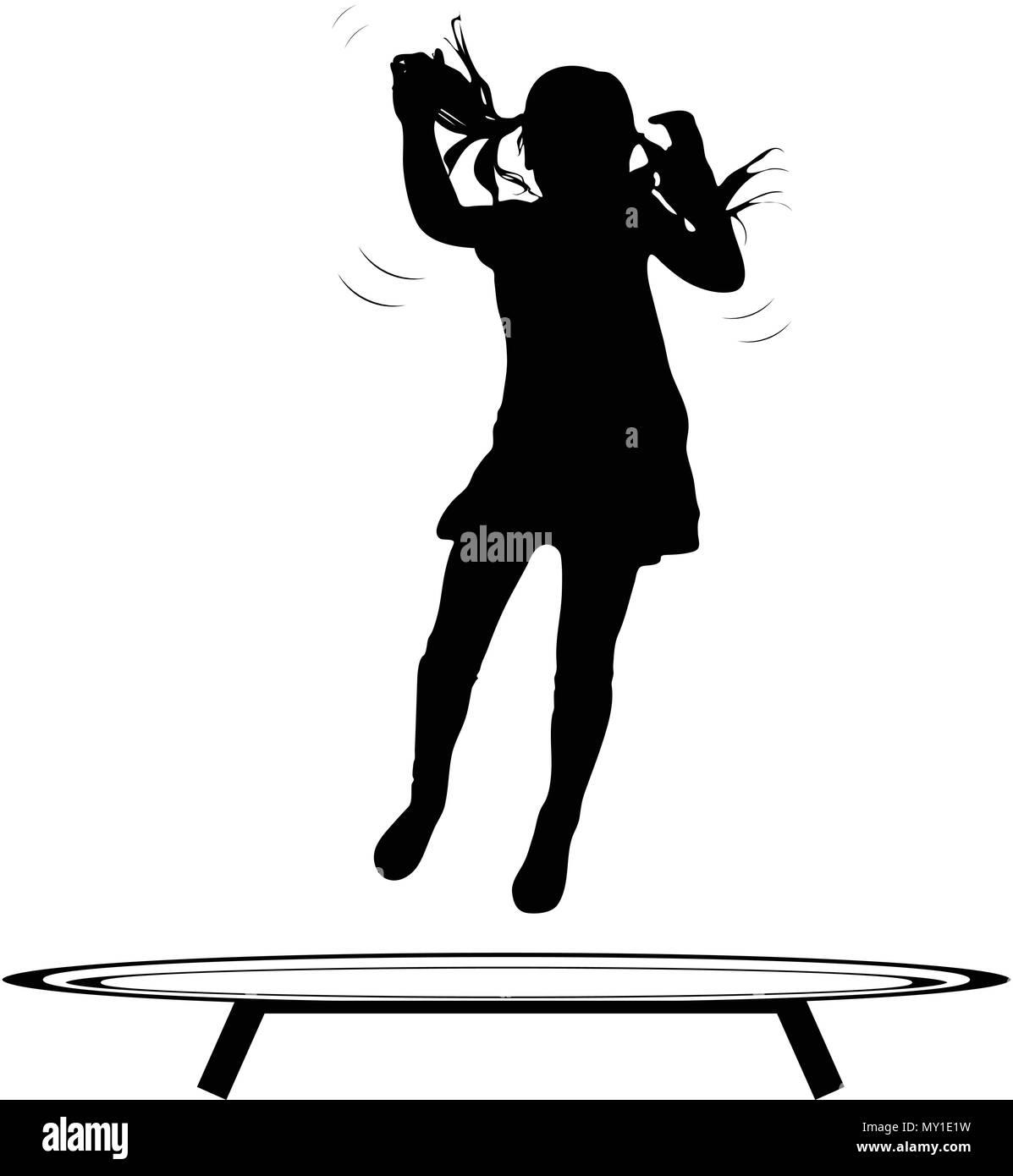 Trampoline saut man silhouette vecteur Photo Stock