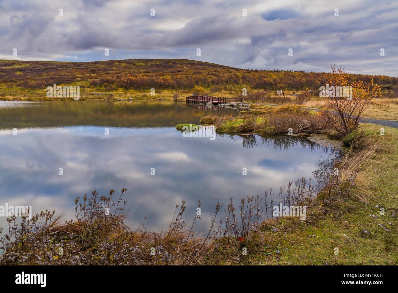 Dans Vifilsstadavatn Gardabaer, banlieue de Reykjavik, Islande Photo Stock