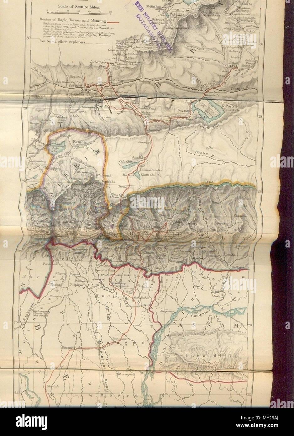 Carte Inde Sikkim.Anglais Carte Historique De Sikkim Dans Le Nord Est De L Inde