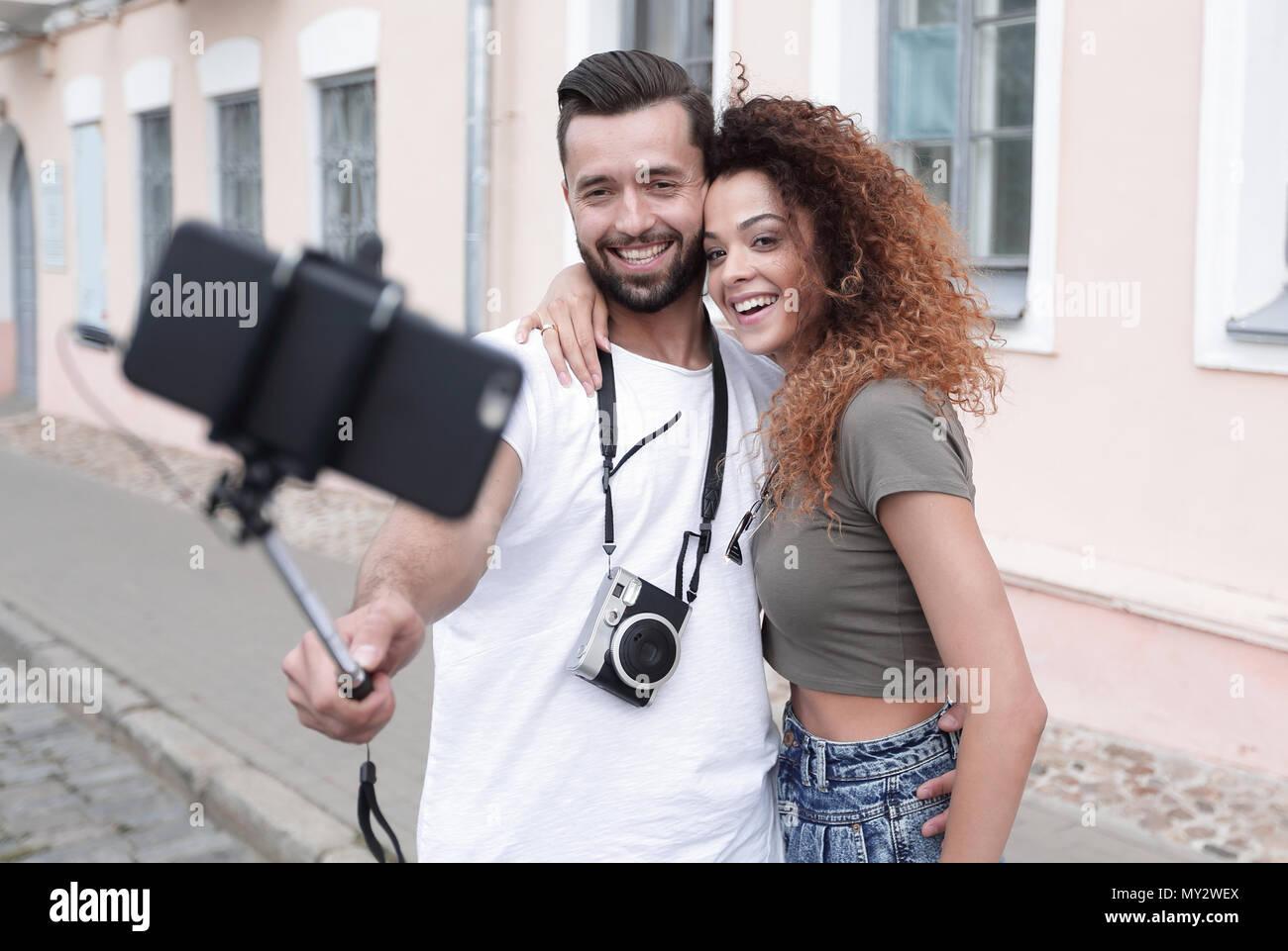Bon voyage couple, selfies humeur romantique. Photo Stock