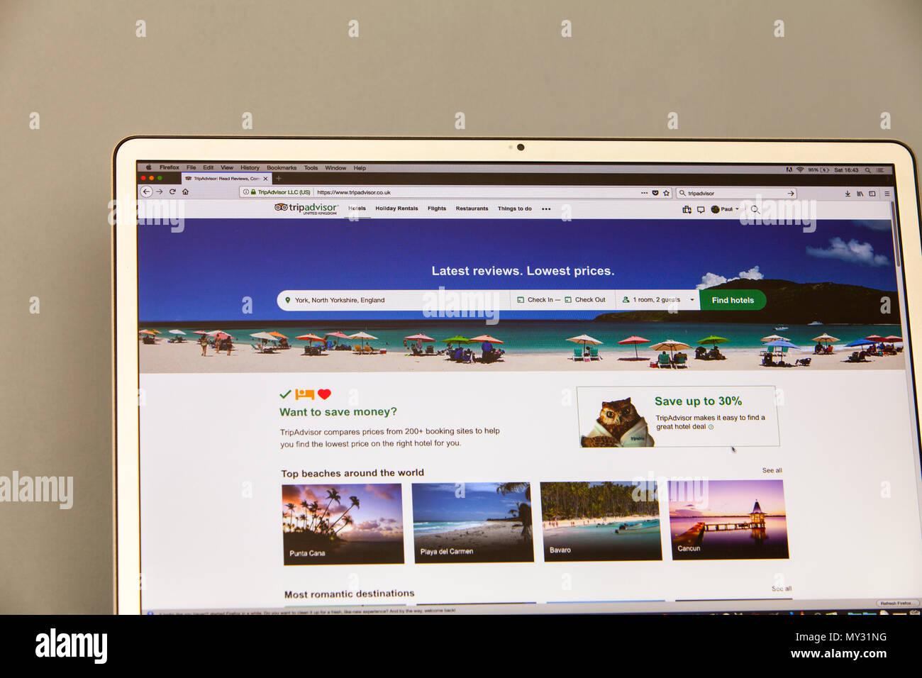 Tripadvisor, site web de voyage et d'un restaurant qui offre hôtel et restaurant reviews, Tripadvisor accueil page d'accueil, Tripadvisor, tripadvisor Photo Stock