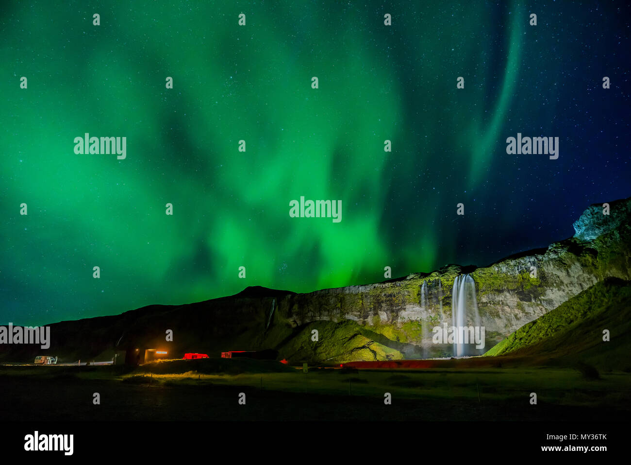 Aurora Borealis, Seljalandsfoss, Islande Photo Stock