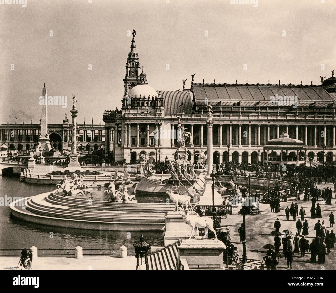 Bassin supérieur, l'Obélisque, salle des machines et MacMonnies Fontaine, Columbian Exposition de Chicago, 1893. Albertype (photographie) Photo Stock