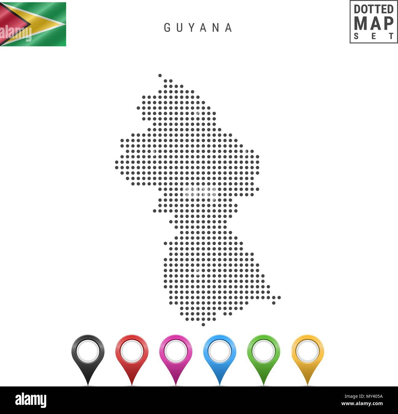 La carte à points vecteur du Guyana. Silhouette simple du Guyana. Le drapeau national du Guyana. Ensemble de marqueurs carte multicolore Illustration de Vecteur