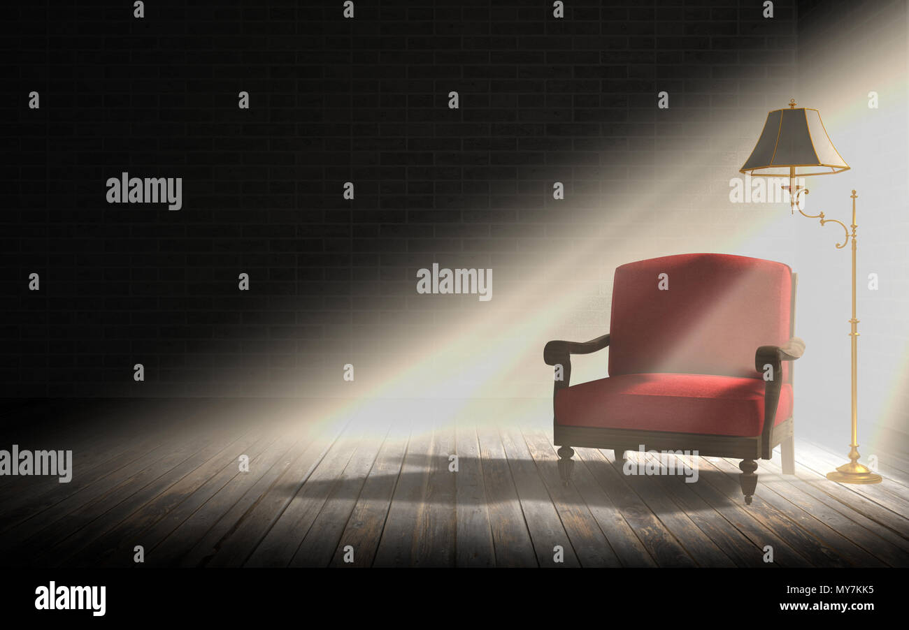 Salon intérieur, fauteuil rouge et classique lampe de plancher dans ...