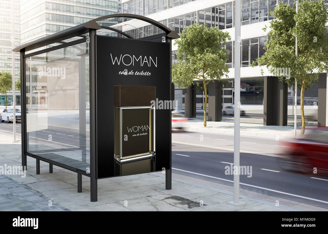 arr t de bus parfum panneau publicitaire dans la rue le rendu 3d banque d 39 images photo stock. Black Bedroom Furniture Sets. Home Design Ideas