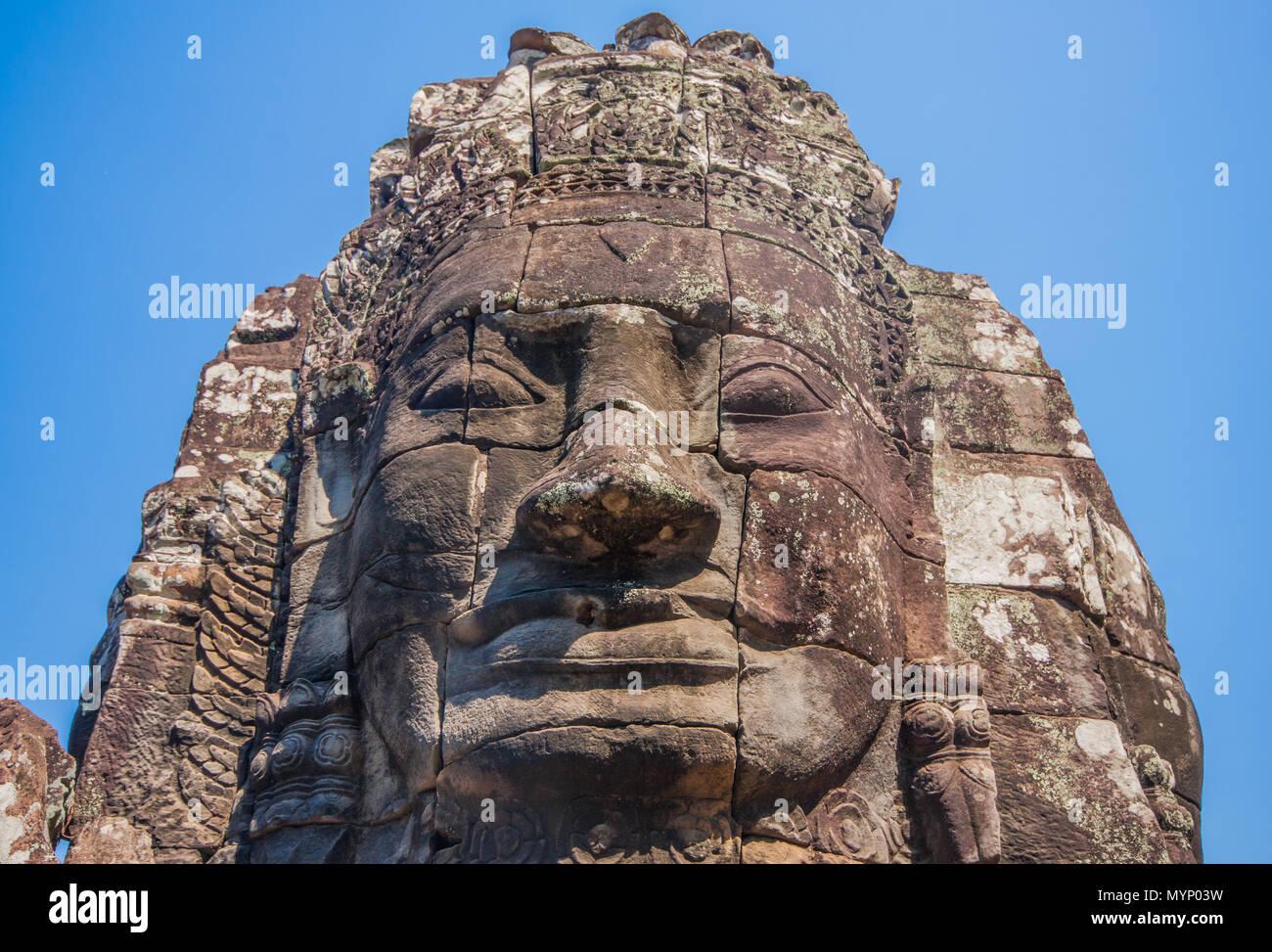 Angkor Thom, au Cambodge - L'un le plus grand monument religieux du monde, ancienne capitale de l'empire Khmer, et célèbre pour les visages sculptés dans les rochers Photo Stock
