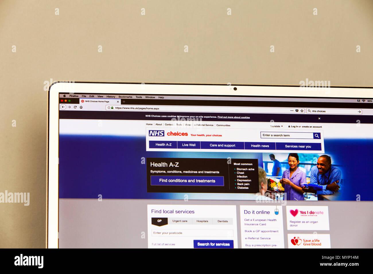 Choix du NHS, site web page d'accueil Choix du NHS NHS NHS, choix, choix des conseils de santé en ligne, la santé, les choix du NHS NHS NHS, santé des choix, des choix, UK Photo Stock