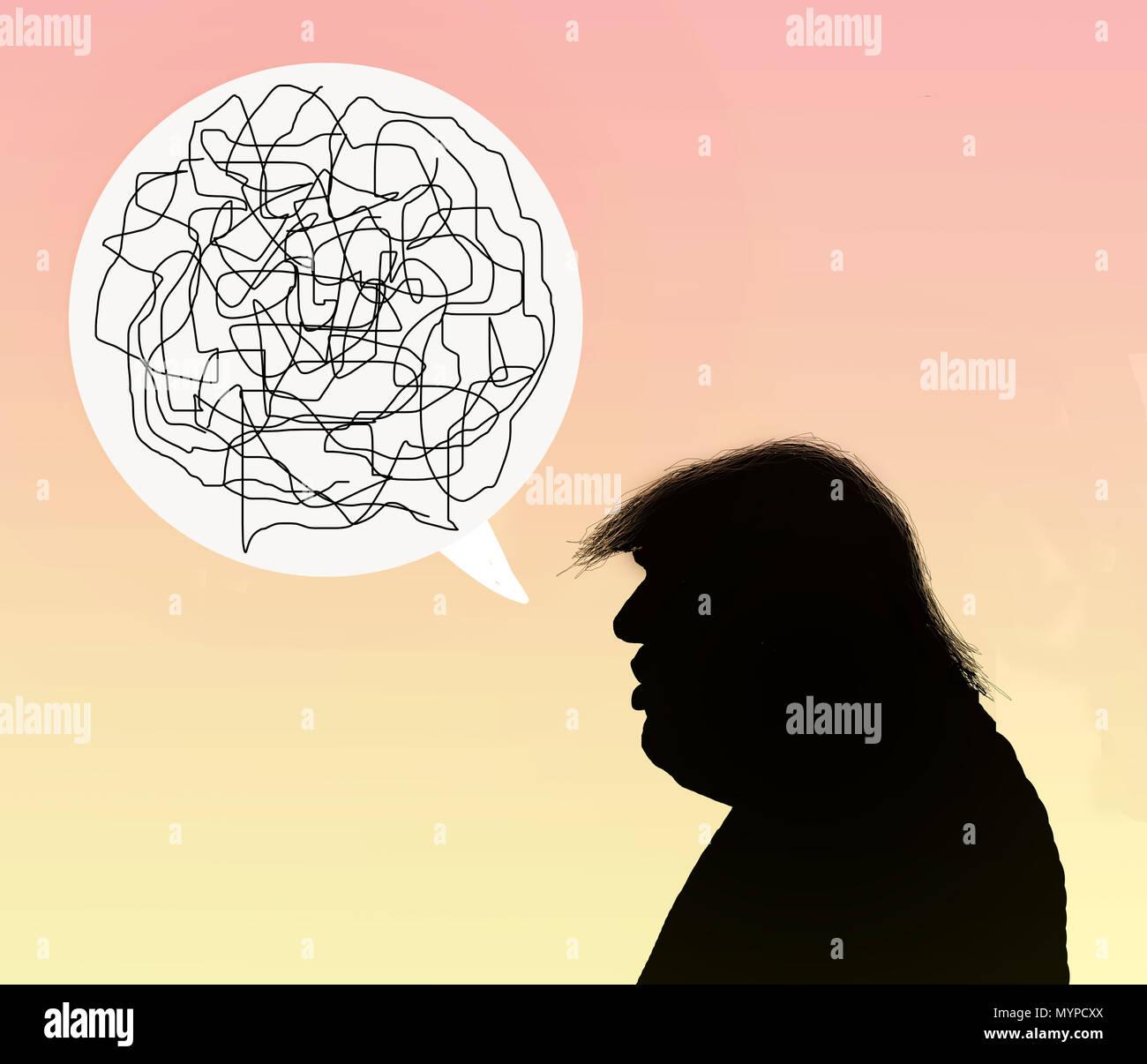 Profil de silhouette de Donald Trump dire n'importe quoi Photo Stock