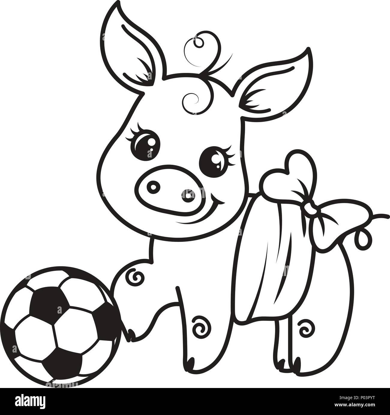 Cute Cartoon Pig Avec Un Ballon De Football Vector
