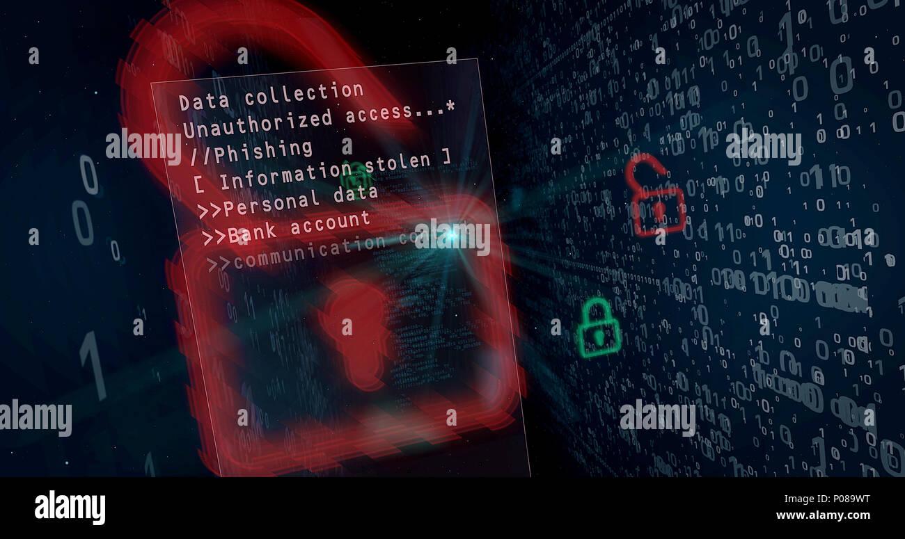 Violation de sécurité cybernétique sur concept de fond numérique. Cadenas d'ouverture pour l'accès aux données, le piratage informatique. Photo Stock