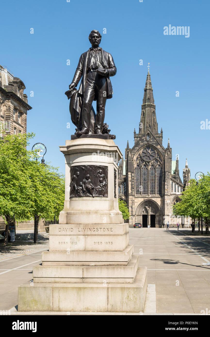 Statue de David Livingstone, la cathédrale de la Cité parlementaire, Glasgow, Écosse, Royaume-Uni Banque D'Images