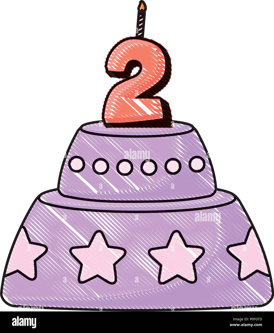 Gâteau d'anniversaire icône sur fond blanc, vector illustration Photo Stock