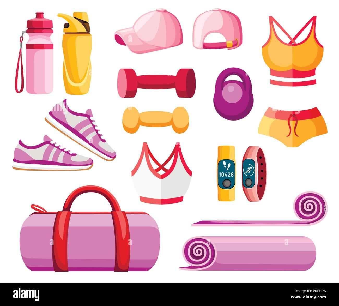 ensemble d u0026 39 accessoires de sport et des v u00eatements  les tenues des femmes  collection couleur