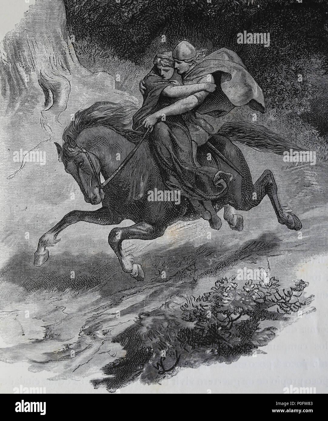 Chef de la tribu germanique Cherusci Arminius (17 BC-21 AD) enlevé et marié avec Thusnelda (c.10 AC-17 DC). Photo Stock