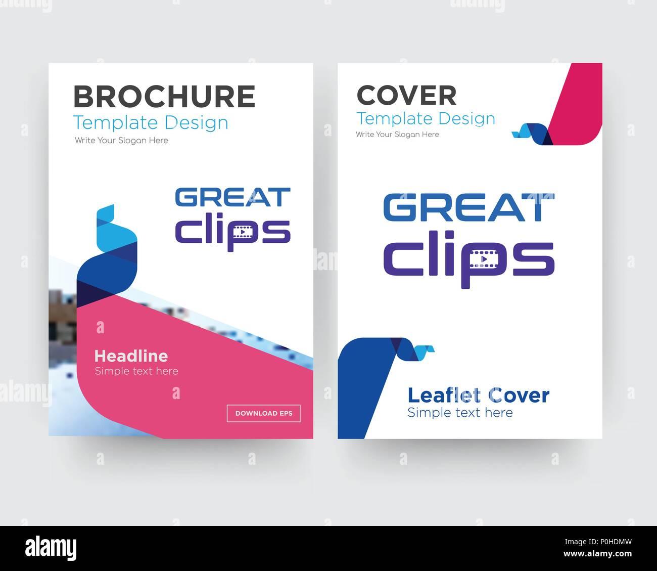 Clips grand modèle de conception de brochure flyer avec résumé photo de fond, tendance minimaliste business entreprise rouler ou le rapport annuel Photo Stock