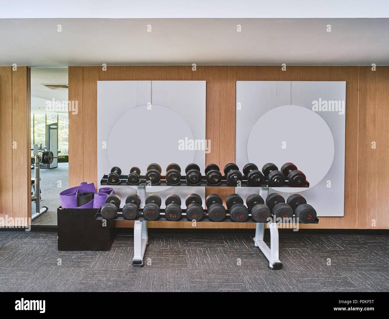 L'haltère pour la formation de poids lineup dans le centre de remise en forme, salle de sport. Photo Stock