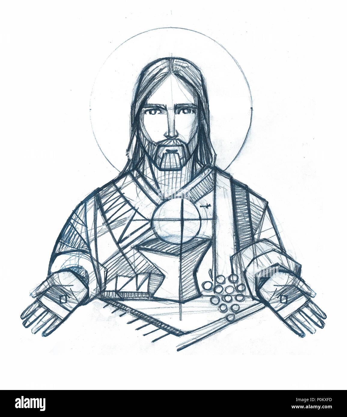 Illustration A La Main Ou Un Dessin De Jesus Christ Une Eucharistie De Symboles Photo Stock Alamy