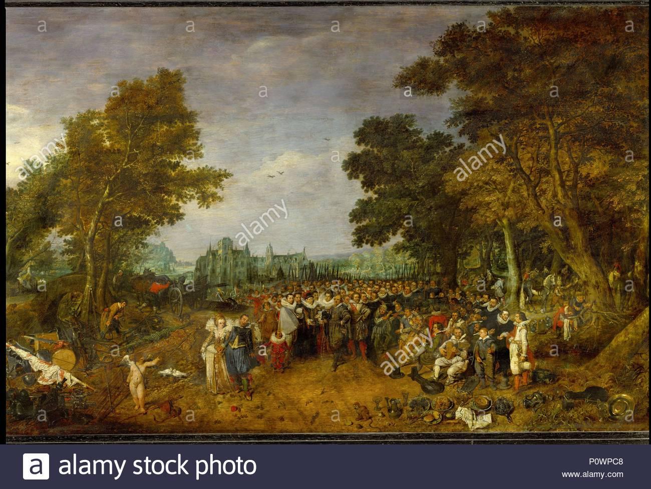 Fête à Loccasion De Larmistice De 1609 Huile Sur Bois 1616 62 X