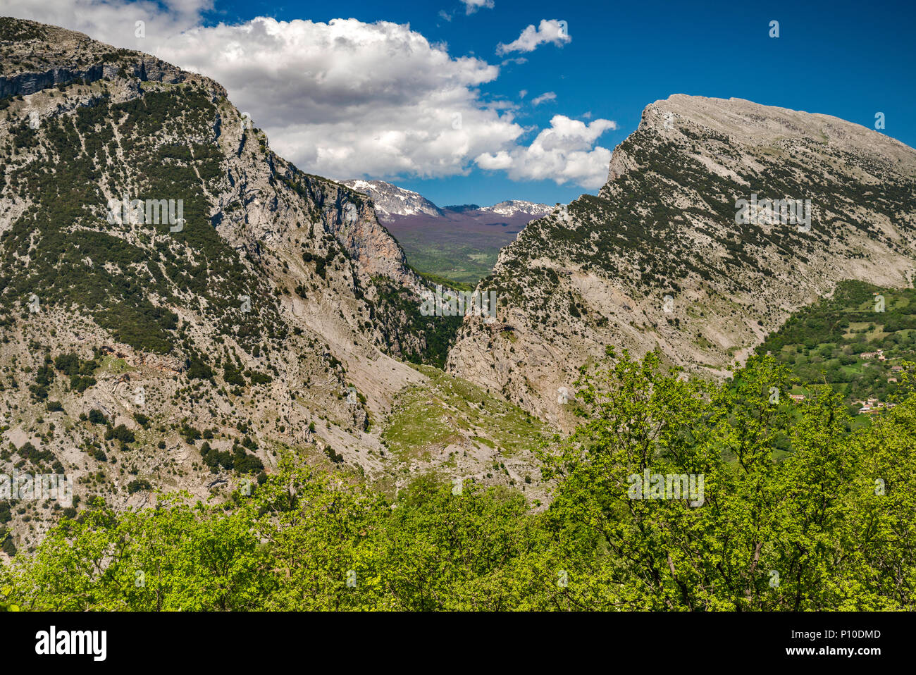 Gole del Raganello Raganello (Canyon), vue de San Lorenzo Bellizzi, le sud de l'Apennin, le parc national du Pollino, Calabre, Italie Photo Stock